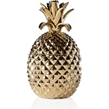 Torre & Tagus 902523B Pineapple Gold Crown Gold Ceramic Canister, Tall, Gold