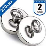 DIYMAG 2Pack Powerful Fishing Magnets,with Countersunk Hole Eyebolt, Diameter 1.9 inch(48 mm),270 lbs(123 KG) Pulling Force for Retrieving in River and Magnetic Fishing (Color: NJ48-2Pack)