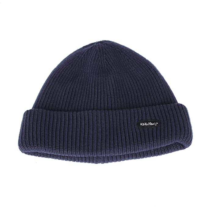 WITHMOONS Gorros de Punto Knitted Beanie Hat Keith Haring Patch Ribbed  Watch Cap CR51089 (Navy c0e9a80a233