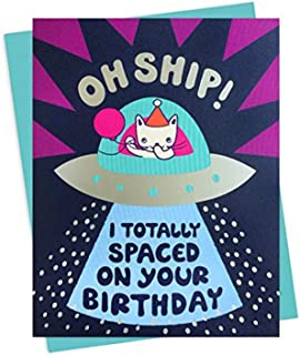 product image for Night Owl Paper Goods Oh Ship! Silver Foil Embellished Belated Birthday Card