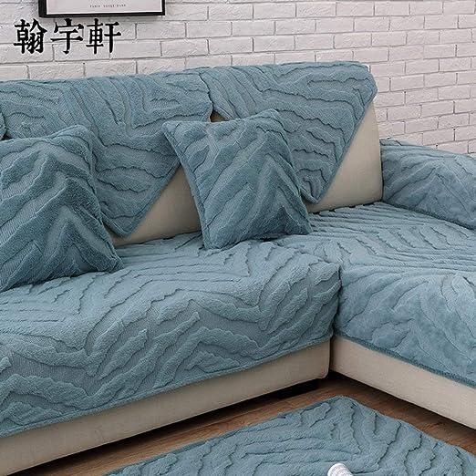 Sofá con funda de felpa corta de color sólido, felpa ...