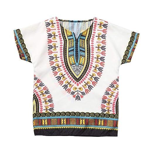 0219c6d7f5b Amazon.com  2-7Y Unisex Children Kids  Tribal Dashiki T-Shirts Traditional African  Print Tops Ethnic O-Neck Short Sleeve Blouse Tees  Clothing