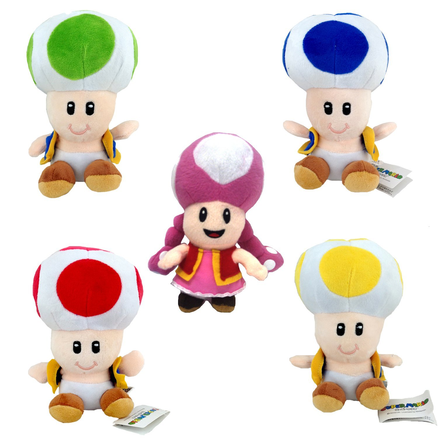 One Set of 5 PCS Toadette Yellow Blue Green Red Toad Super Mario Bros Toad Brigade Plush Soft Toy Stuffed Animal with a Free Super Mario Badge as Gift 6'' by Generic