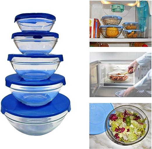 Set 5 envases de cristal para cocinar y almacenar alimentos apto ...