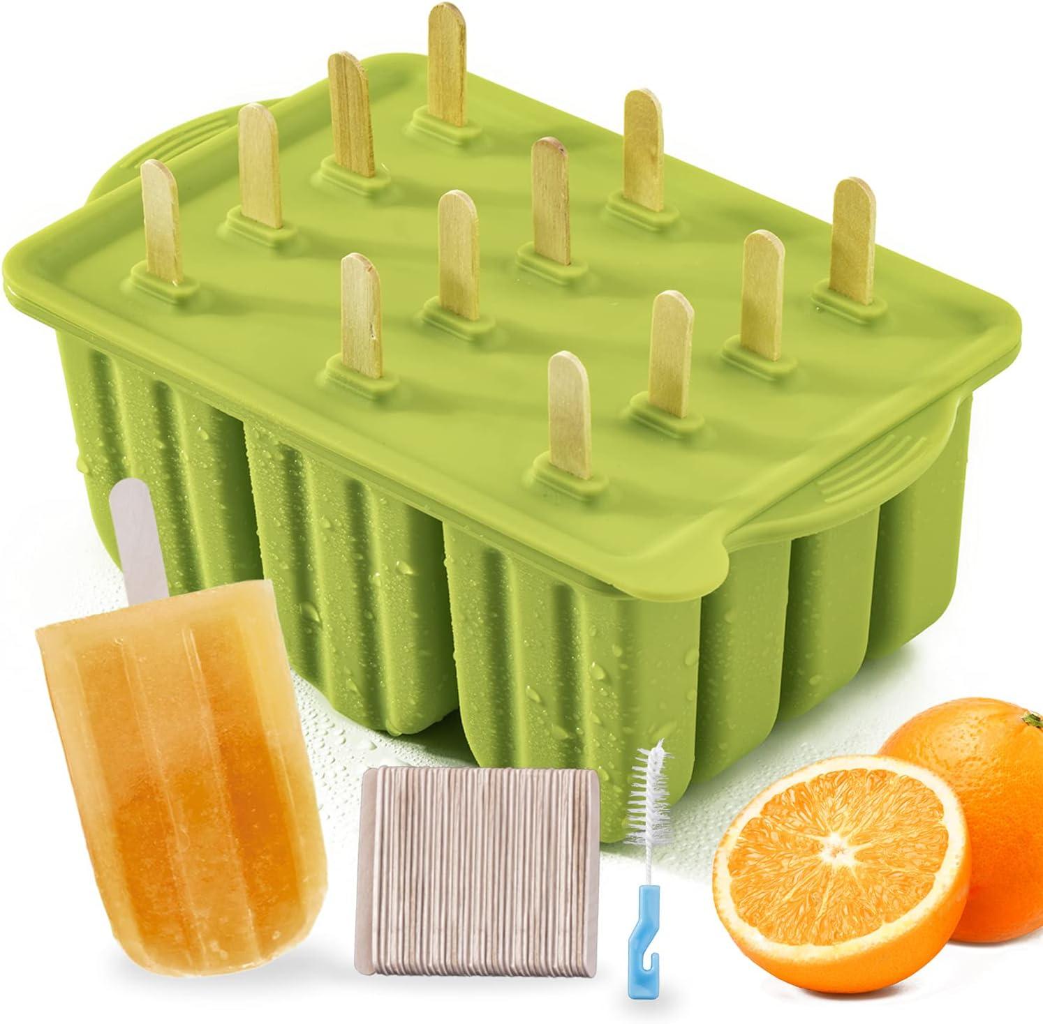 Flytoo Silikon-Formen mit 3 Mulden BPA-frei 2 Packung, mit 100 Stielstangen Kuchen//Eiscreme//Eis am Stiel einfach zu l/ösen selbstgemachte Eisformen mit Deckel f/ür Kinder