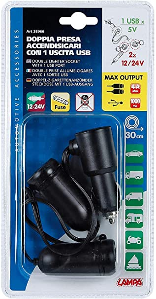 Lampa 38966 Usb Stecker Mit Doppel Stecker Zigarettenanzünder 12 24 V Auto