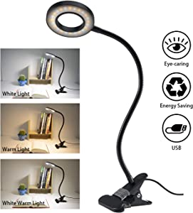 Clip Light Reading Lights - QQAPPU 24 LED USB Book Clamp Light with 3 Color Modes, 10 Brightness Dimmer and Auto Off Timer, Eye Protection Kids Desk Lamp, 360 ° Flexible Gooseneck Bed Night Light