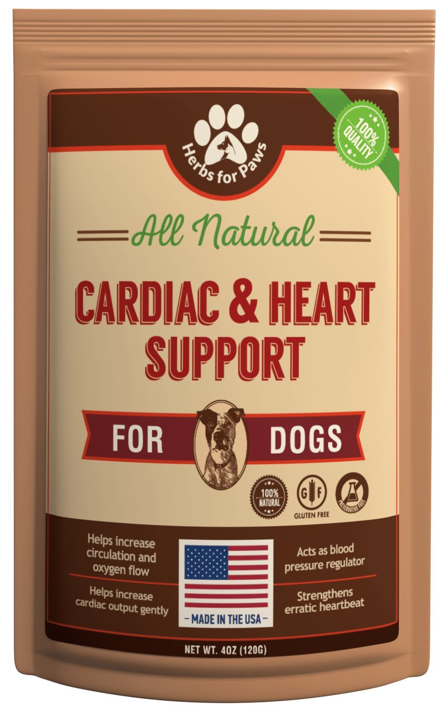 Dog Cardio Strength Heart Murmur Hawthorn Supplement, Hawthorne for Dogs Vitamins for pet Heart Health| Made in USA - 4.0 OZ by Herbs for Paws