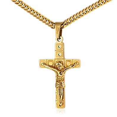KnSam Mens Chain Necklace Gold Stainless Steel Curb Chain