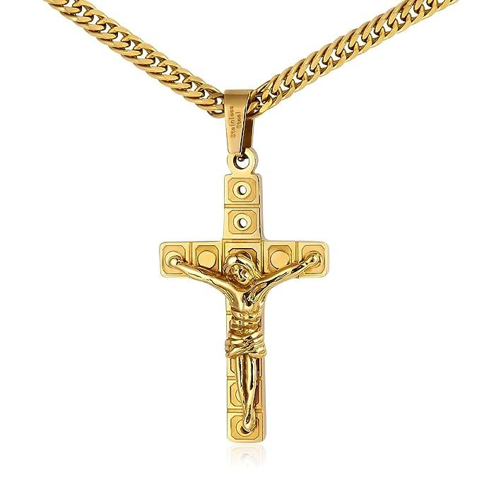KnSam Herren Halsketten 18K Gold Vergoldet Kreuz Jesus Kruzifix Anhänger Gebetskette für Männer, Gold 60cm 80cm [ Neuheit Hal