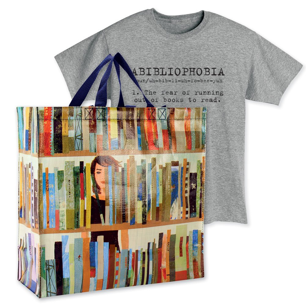 Women s Book Lover s Gift Set Book Tote Bag And Abibliophobia T-Shirt - Md  Apparel d63c6bde17