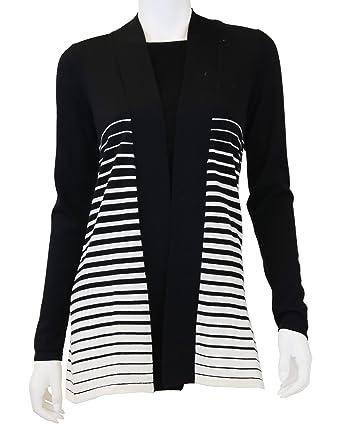 c45c9f9fd6b7a2 Amazon.com: Doria Women's 100% Wool Stripe Open Cardigan: Clothing