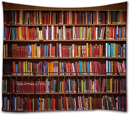 A.Monamour Tapices Suecia Antigua Biblioteca Pública Estantería Estante para Libros Fotografía Imagen Impresión Tela Tapiz Decoraciones De Pared para ...