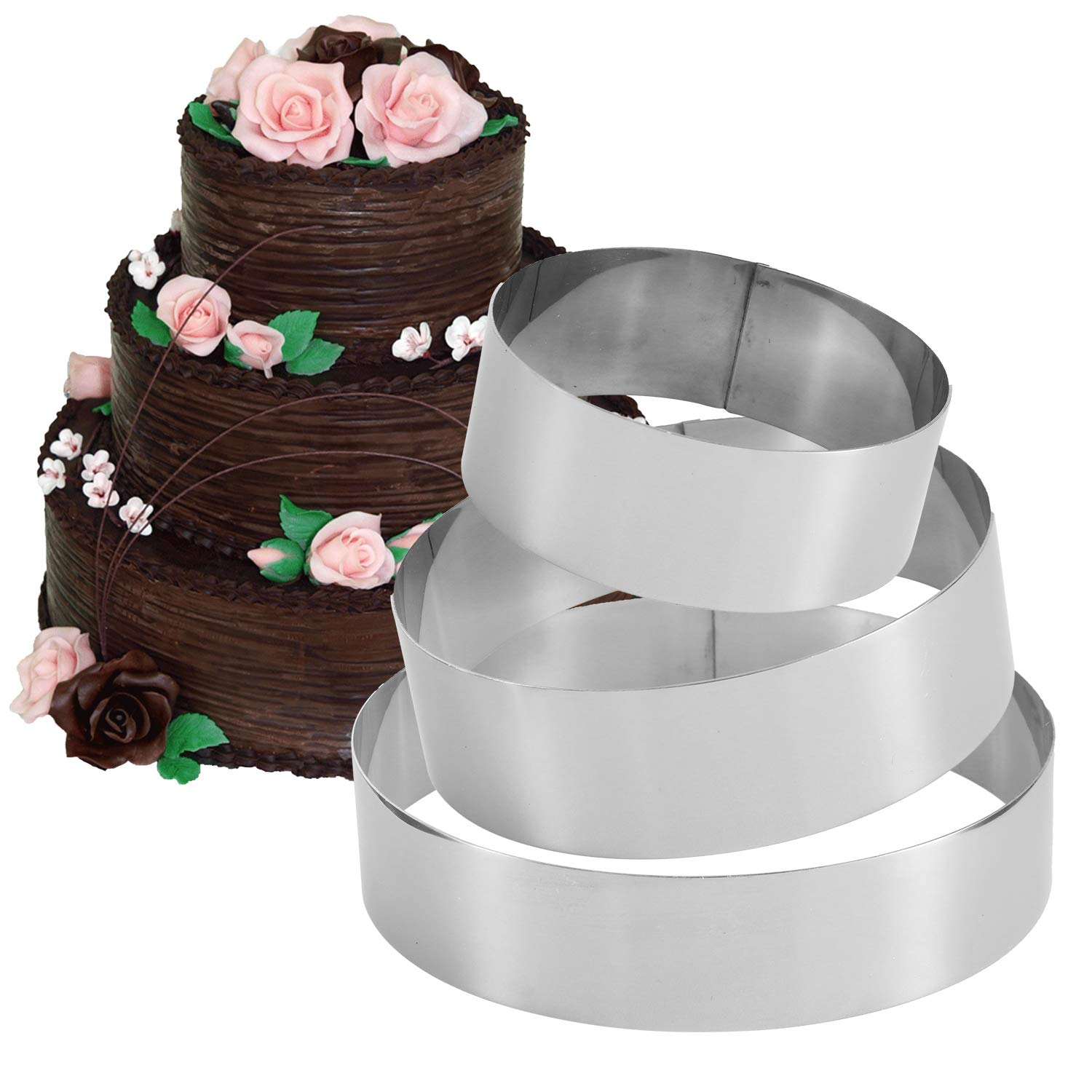 Cat-Shapes,Set of 3 Funwhale 3 Tier Cat Multilayer Anniversary Birthday Cake Baking Pans,Stainless Steel 3 Sizes Rings Cat Molding Mousse Cake Rings