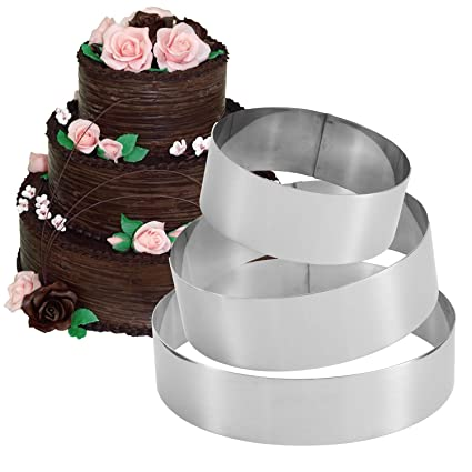 Amazon Com 3 Tier Round Ring Mold Stainless Steel 3 Sizes Cake