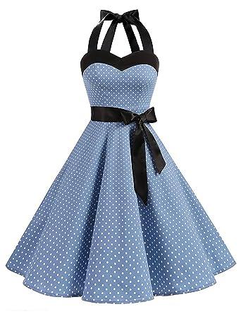HUINI Vintage Kleid Neckholder Polka Dots Retro 50er 60er Jahre Rockabilly  Swing Kleid Pinup Ärmellos Cocktailkleid Partykleider Petticoat mit Gürtel   ... c8ba04bab2