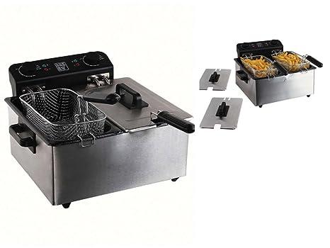 Acero inoxidable doble freidora 3300 W frito 2 cestos 1,6 kg patatas (grandes