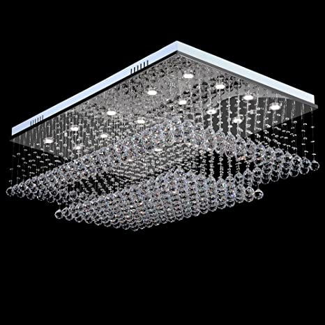 Meerosee modern chandeliers lighting rain drop crystal rectangular meerosee modern chandeliers lighting rain drop crystal rectangular chandelier flush mount ceiling lights fixtures for living aloadofball Choice Image