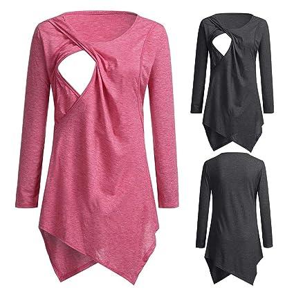 Women Pregnant Long Sleeve Nursing Solid Breastfeeding Dress Maternity Clothes 0