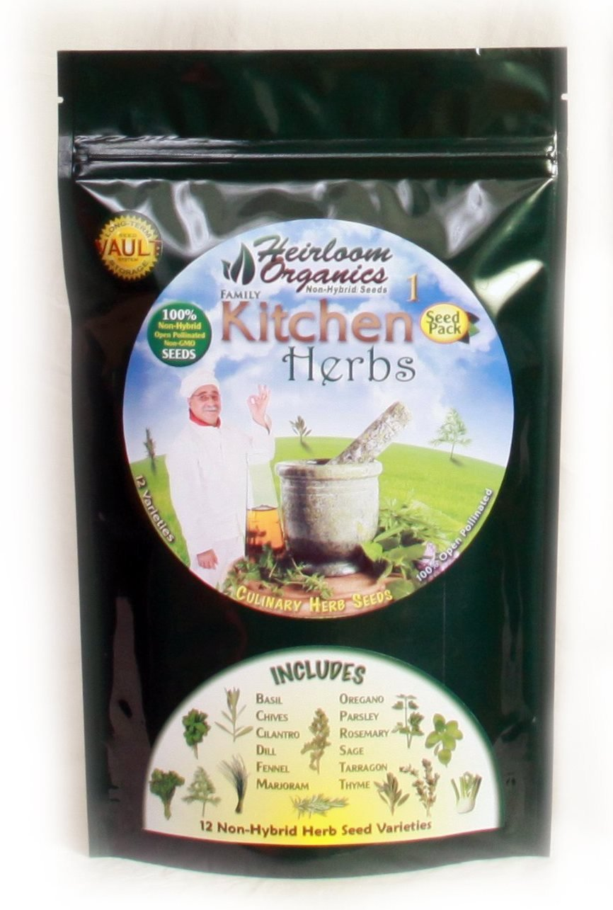 Heirloom Organics NON-GMO Family Kitchen Herb Seed Pack - 12 Varieties Culinary Non-Hybrid Herb Seeds - Sealed for Long Term Storage