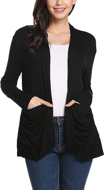 Damen Cardigan T-Shirt Jäckchen Lang Strickjacke Weste Jacke Koralle
