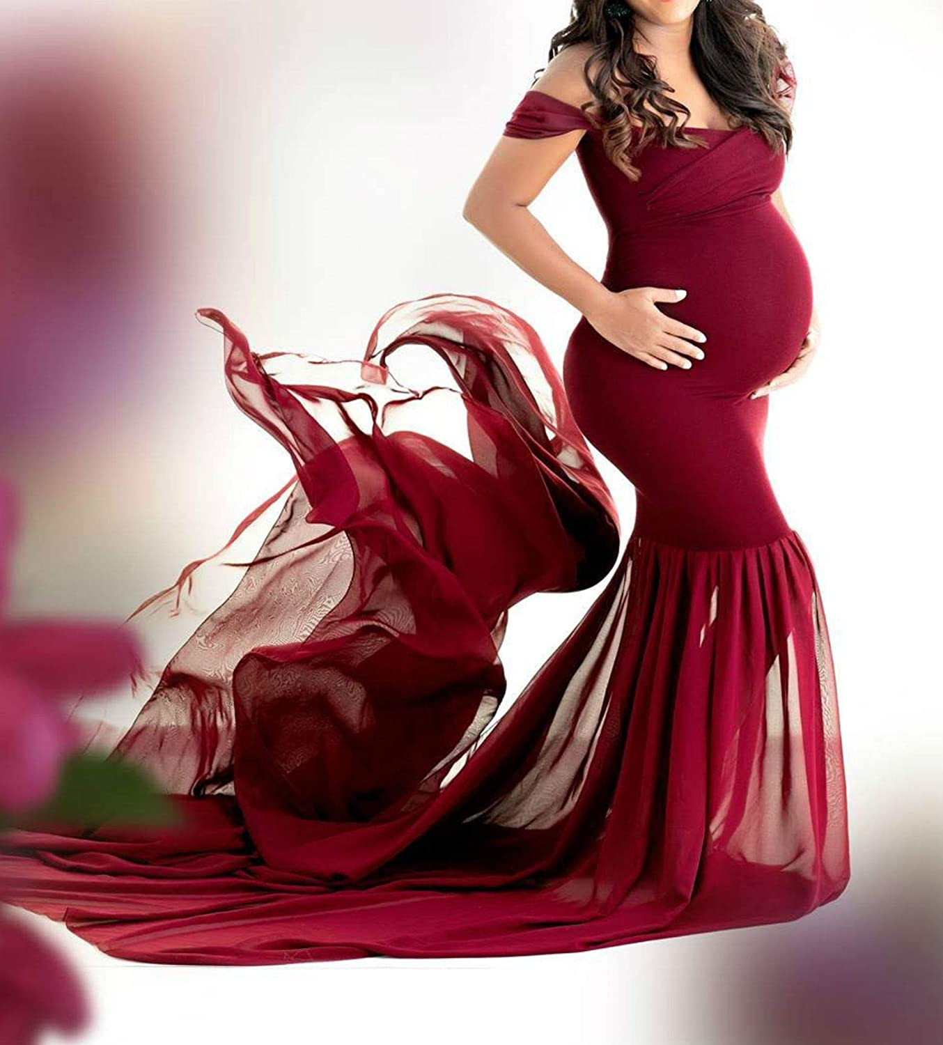 Arbres Maternity Off Shoulder Fitted Gowns Baby Shower Dress for Photography Wedding Dress