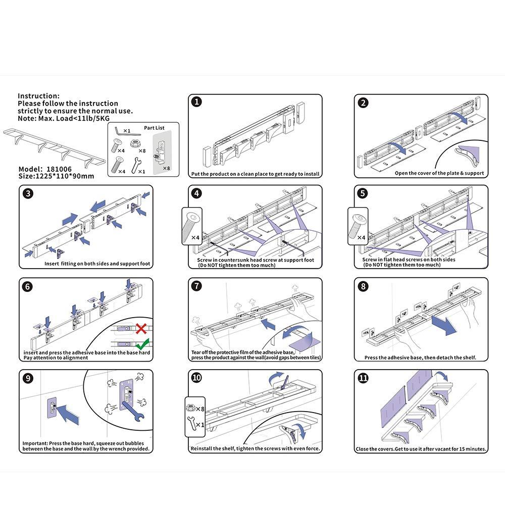 KUNGYO Bianca di Plastica Scaffali di Galleggiamento Ventose Mensole per Doccia del Bagno Mensola a Muro Montaggio a parete Bagno Caddy Dellacquazzone Dellorganizzatore Ampio