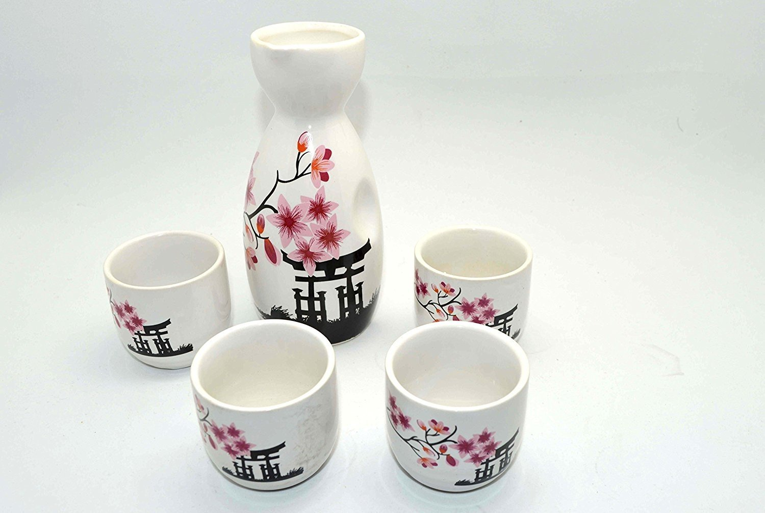 Wine Pot & Cups Set, for Japanese Wine Sake, wine bottle & cup collection (Temple) Palmetto Asia KC22