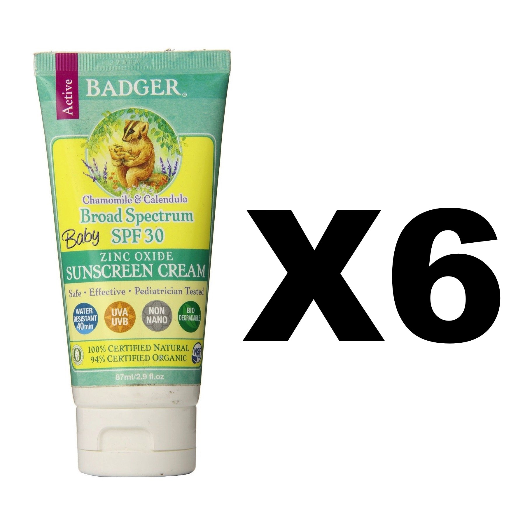 Badger SPF 30 Baby Sunscreen Cream 2.9oz Tube Waterproof Chamomile (6-Pack) by Badger