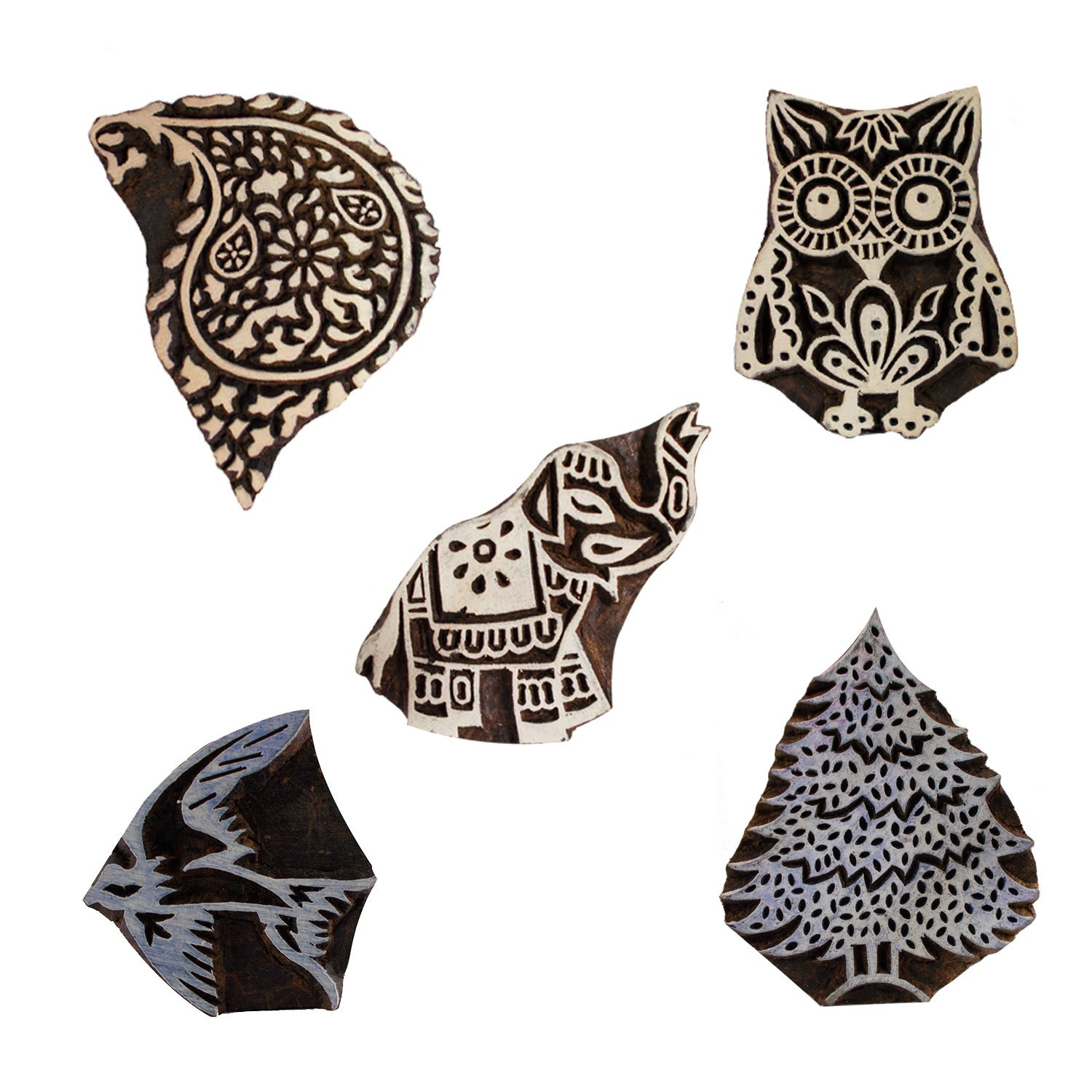 Lot of 5 Wooden Textile Handmade Paisley Bird Tree Owl Elephant Printing Textile Block Clay Potter Craft Scrapbook Stamps