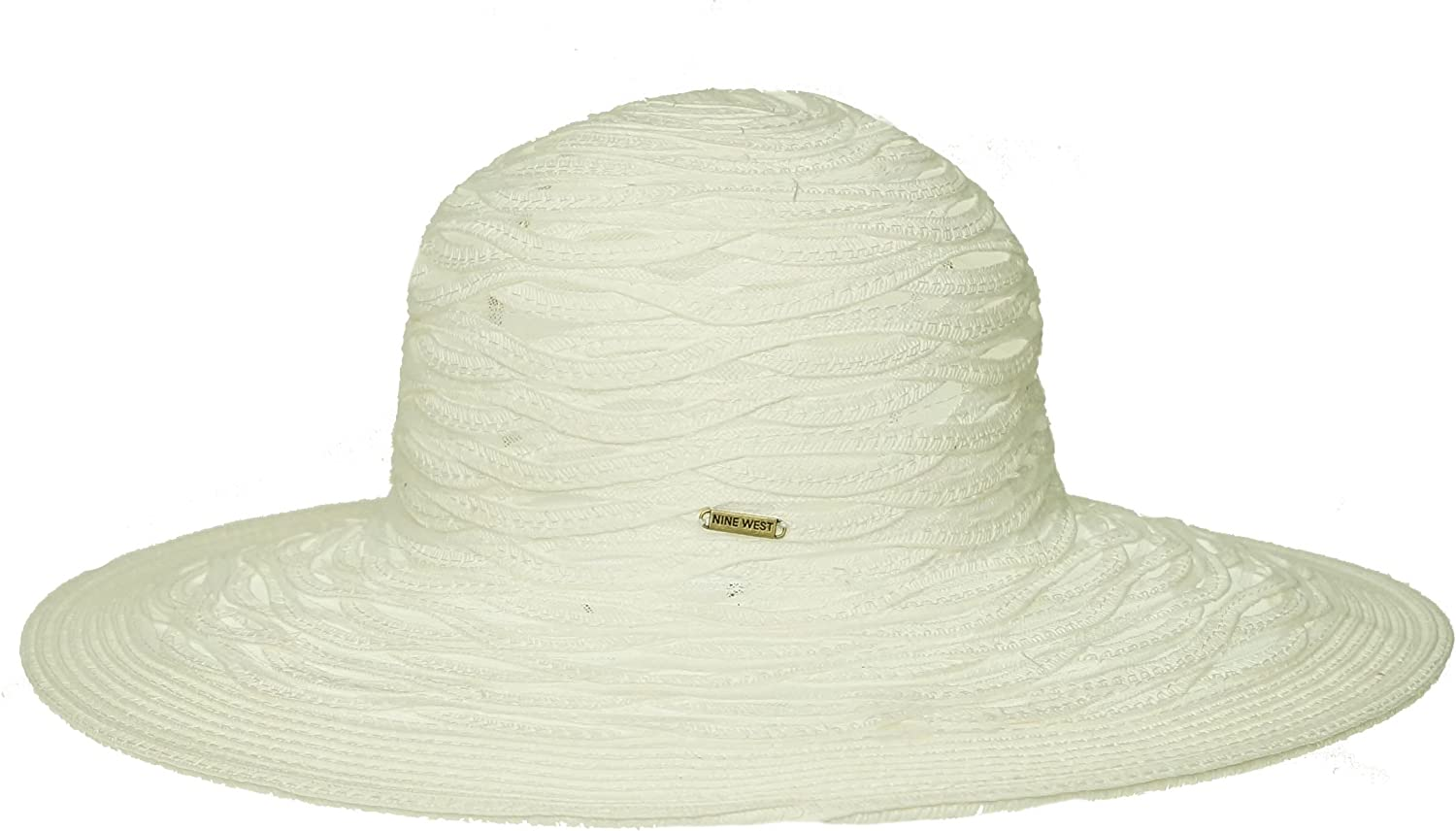 Nine West Sheer Open Super Floppy Hat White ONE SIZE
