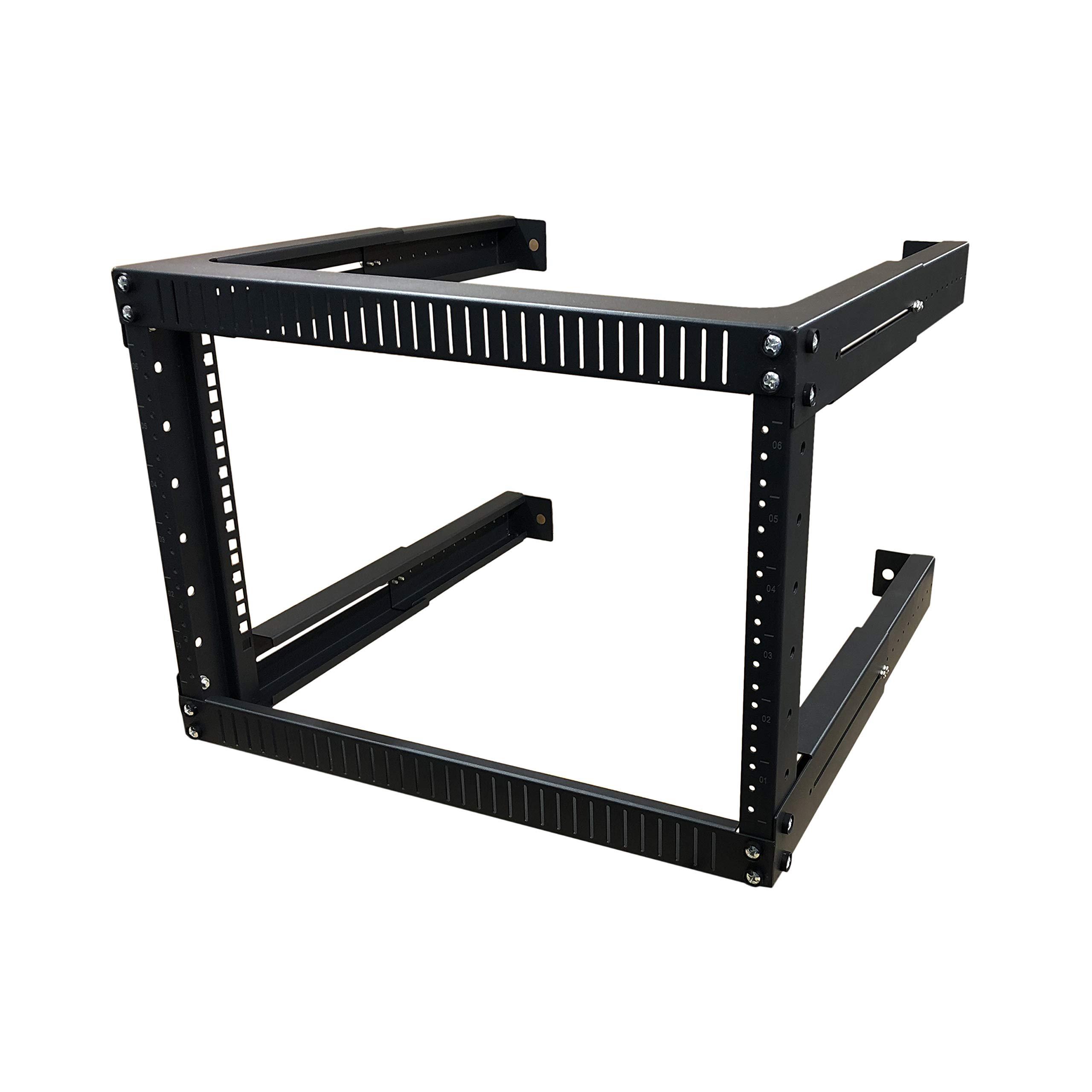 Kenuco 18U Adjustable Depth Wall Mount Open Frame Steel Network Equipment Rack 17.75 Inch Deep