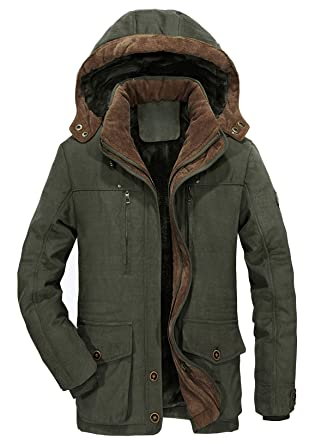 69cc71095 chouyatou Men's Winter Single Breasted Sherpa Lined Twill Work Barn Jacket