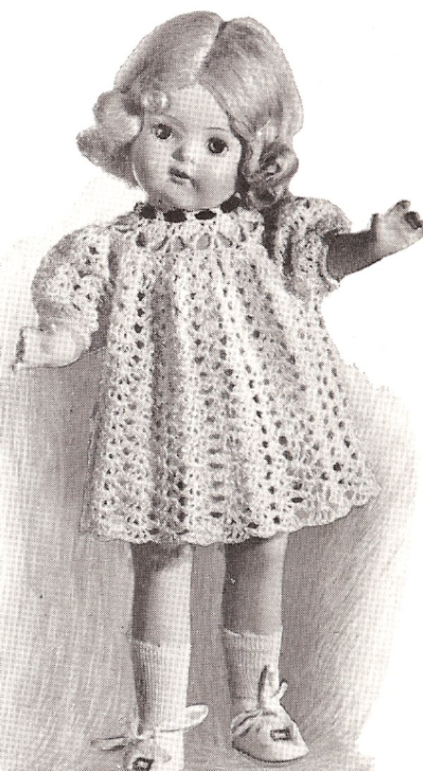 Vintage Crochet PATTERN to make - 16 18 20 Doll Dress Lacy Party Clothes. NOT a finished item. This is a pattern and/or instructions to make the item only.