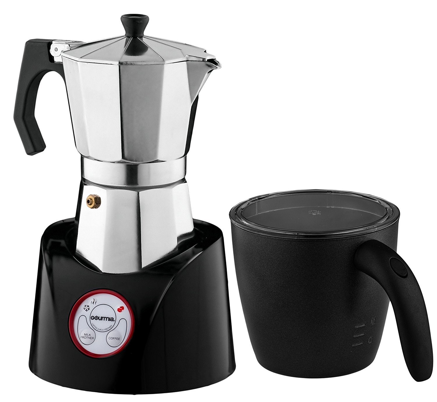 Gourmia GMF255 Espresso Coffee Pot & Milk Frother Combo, 2 in 1 Coffee Station With Interchangeable Base