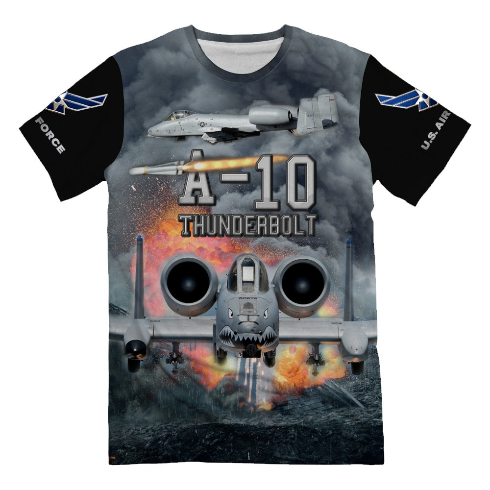 Personalized USAF Air Force Fighter A-10 Warthog Thunderbolt T-Shirt for Mens 3d Allover Printed Short Sleeve Top Tees by NIWAHO