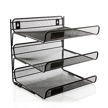 Amazon.com : Staples Black Wire Mesh 3-Tier Desk Shelf : Modular ...