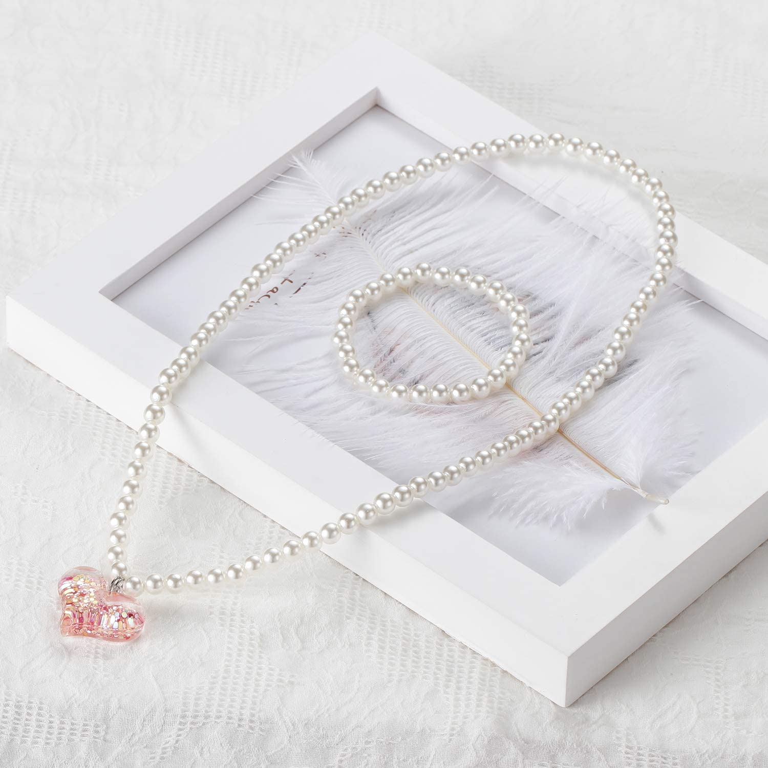 Flower Girl Gift Super Sparkly Heart Charm in Pastel Necklace and Pearl Bracelet Girls Jewelry Set