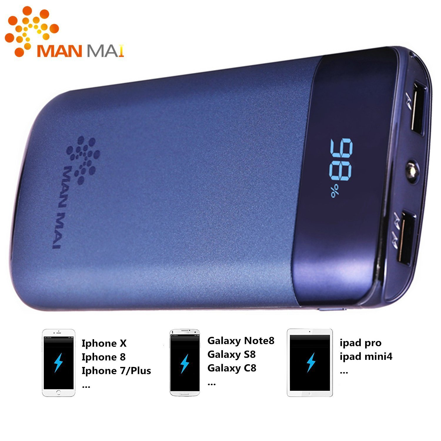 KUPPET 20000mAh Power Bank (Dual USB Port, 3.1A Total) External Portable Charger Battery Pack Portable Charger with LED Flashlight for iPhone 7, iPhone 8,iphone X,iPad Pro, Galaxy S8 Note8 and More by KUPPET (Image #1)