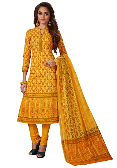 b45061f60b196 S Salwar Studio Women's Yellow & Orange Cambric Cotton Printed Dress  Material with Dupatta(SOM-0039018_Yellow_Free Size): Amazon.in: Clothing &  Accessories