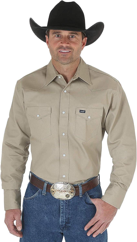 Wrangler Men's Western Long Sleeve Snap Firm Finish Work Shirt