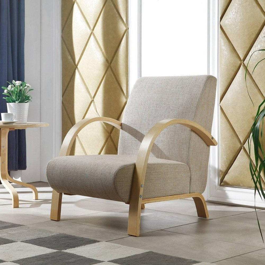 Fauteuil design en avec structure en bois (beige / couleur sable)