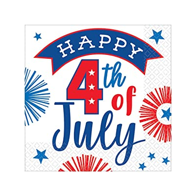Amscan 50777701 Favor, Happy 4th Beverage Napkins Party Supplies, One Size, Multicolor: Kitchen & Dining