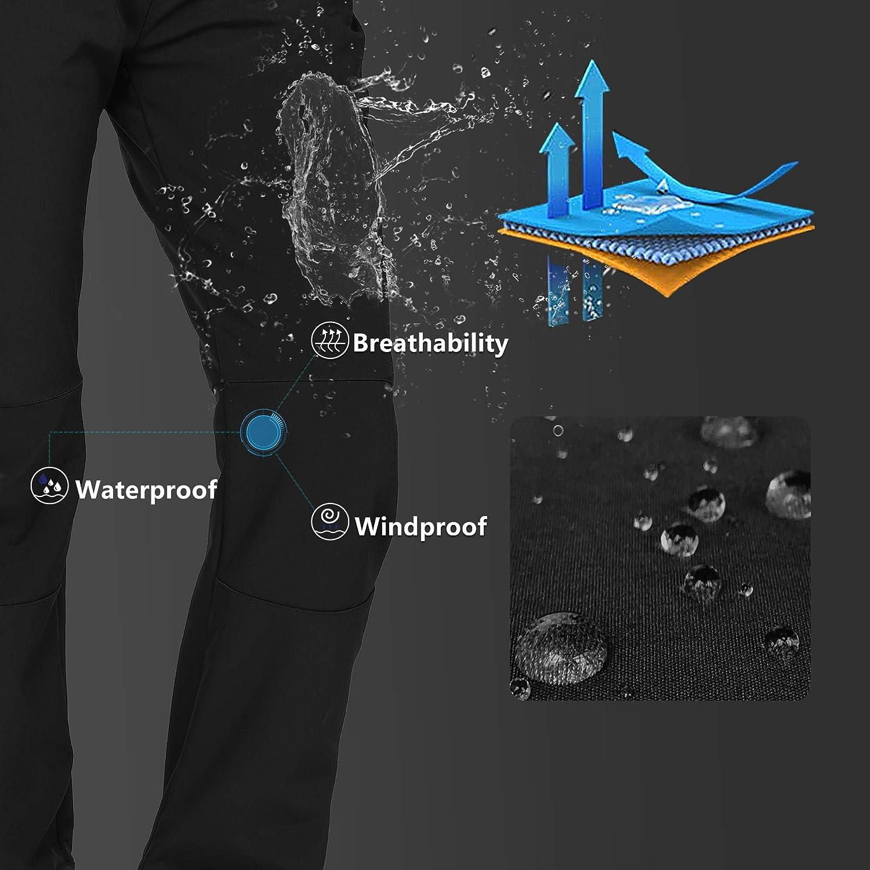 Outdoor Ventures Womens Hiking Pants Fleece-Lined Softshell Pants Waterproof Ski Snowboarding Snow Pants with Straight Legs
