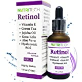 Suero facial de Retinol anti arrugas con Vitamina E, Acido hialuronico, te verde, aceite de jojoba, gotu kola, super concentr