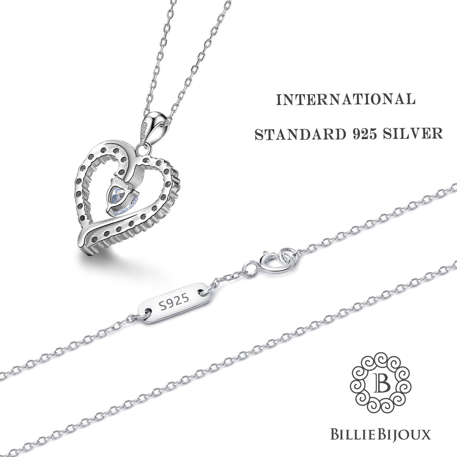 Amazon 925 sterling silver heart necklace billie bijoux you amazon 925 sterling silver heart necklace billie bijoux you are the only one love platinum plated diamond pendant 18 jewelry aloadofball Choice Image