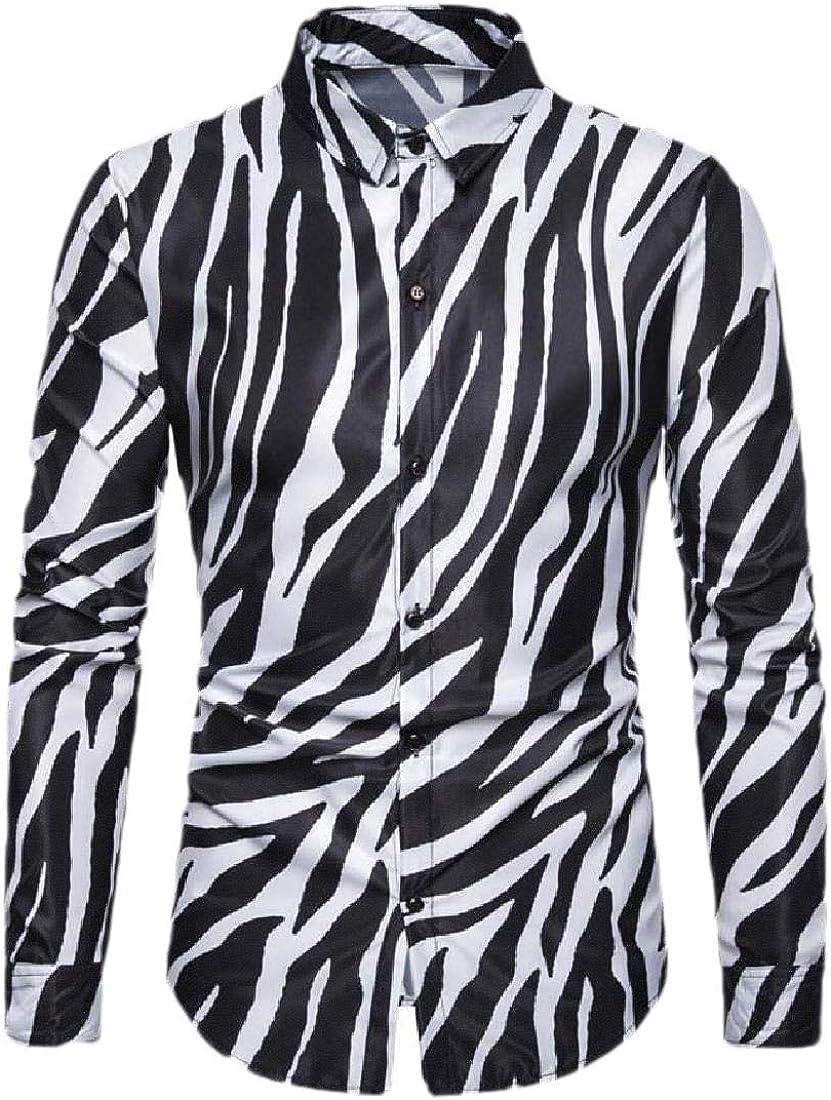 dahuo Camisa de Manga Larga con Estampado de Cebra, Informal, con Botones, para Hombre Blanco Blanco S: Amazon.es: Ropa y accesorios