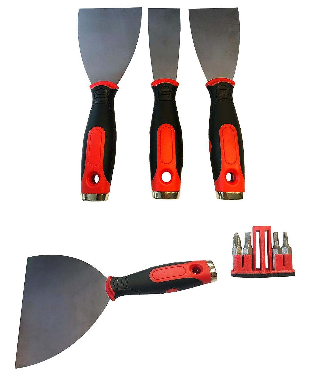 Profi-Qualit/ät 4-er Set 40 Bitspachtel Spachtel mit 4 Bits Fugenspachtel mit Bit rostfreier Stahl 75 mm Multifunktionsspachtel Edelstahl - 2K Handgriff 60 80