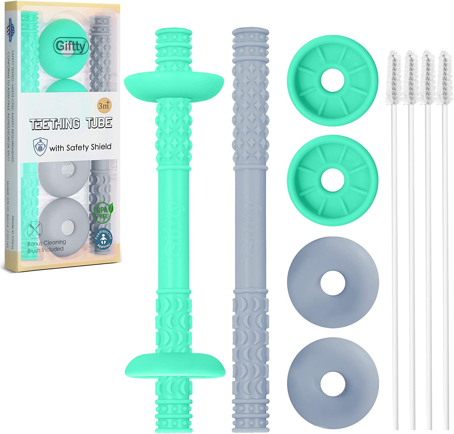 Teething Tube with Safety Shield Baby Hollow Teether Sensory Toys Gum Massager, Food-Grade Silicone for Infant 3-12 Months Boys Girls, 1 Pair with 4 Cleaning Brush Included (Emerald+Gray)