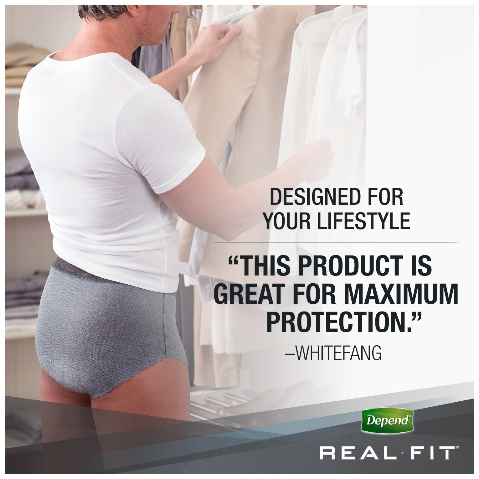 Depend Real Fit Incontinence Briefs for Men, Maximum Absorbency, S/M, Grey by Depend (Image #9)